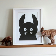Nursery wall art, children's room art, wall decor, monster  illustration print