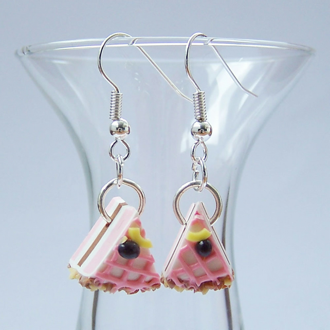 Pink Cake Slice Earrings