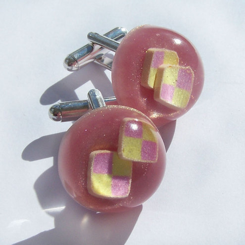 Battenberg cake resin cufflinks