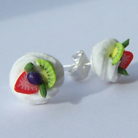 Tiny meringue and fruit stud sterling silver earrings