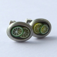 Ear studs with lemon & lime slices