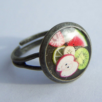 Antiqued silver ring with mixed fruit, adjustable