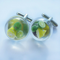 Gin and Tonic Citrus Cufflinks