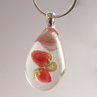 Strawberry Banana resin pendant necklace