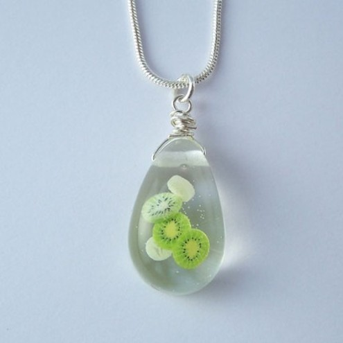 Kiwi Banana Resin Pendant Necklace