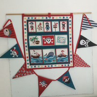 Wall hanging pirate pocket storage  and pirate bunting