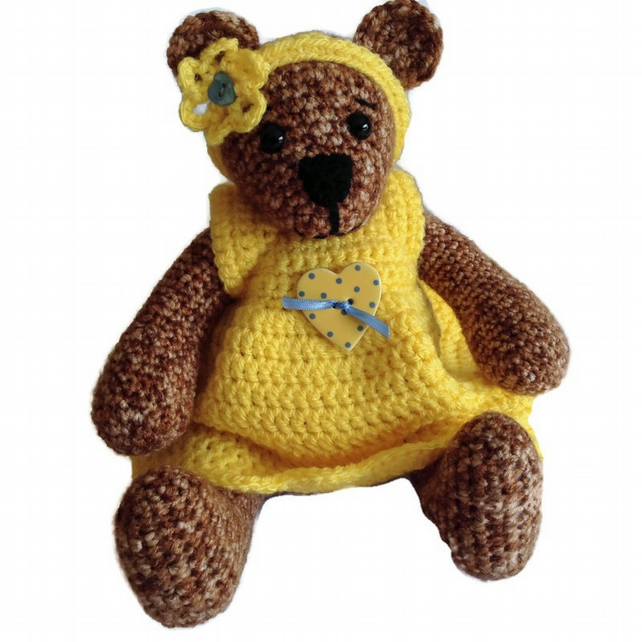 Crocheted Bear Girl Bear in Pretty Dress