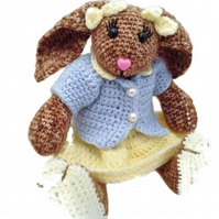 Crocheted Bunny Girl Bunny with Skirt and Top