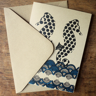 Screen printed blank greetings card - Seahorse (blue)