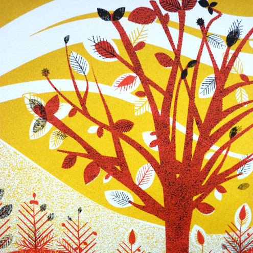 Autumn Leaf  - Hand pulled screen print, 3 colours