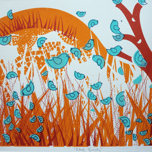 Blue Birds - 4 Colour Screen Print / Orange