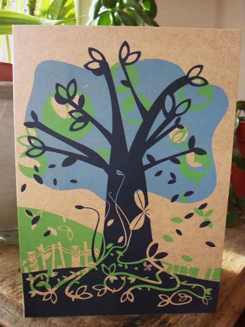 The Tree Outside - Screen printed card -blue, green on recycled card