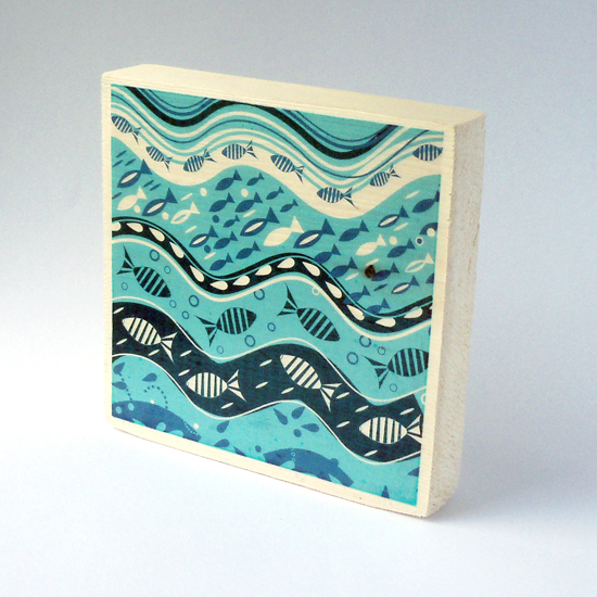 Fish in the Waves - Decal Print Mounted on Spruce Wood