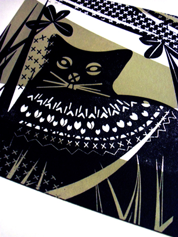 CAT - 2 colour screen print - sage green and black
