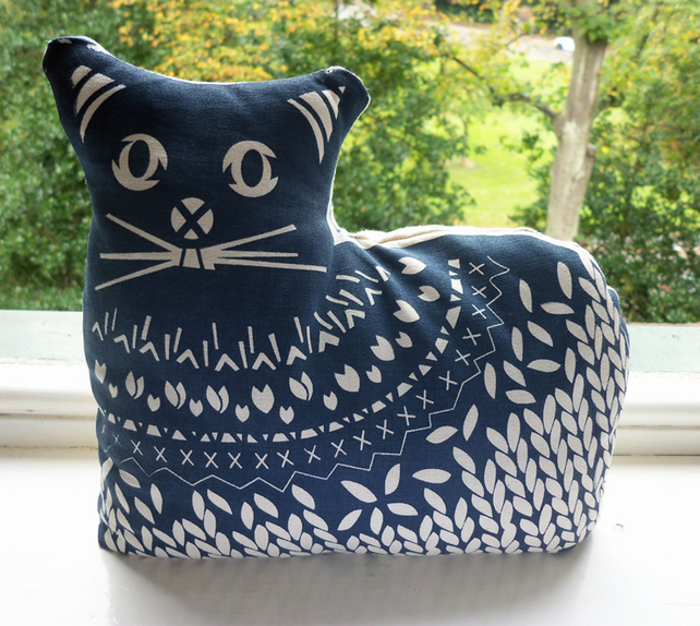 CAT DOORSTOP ::  Screen printed by hand :: BLUE