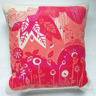 Fern Leaf Cushion - screen printed by hand onto organic heavy weight cotton