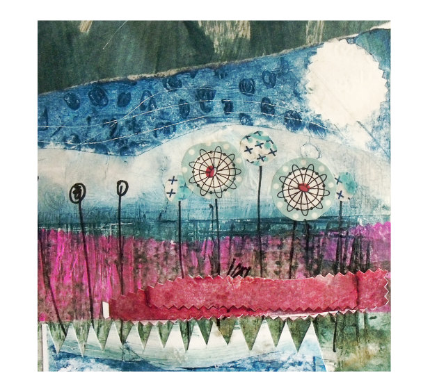 Art Print of my Collagraph and Screen Printed Collage - Across the Fields
