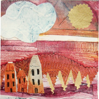 Art Print of my Original Collagraph Collage - A Trip to the River