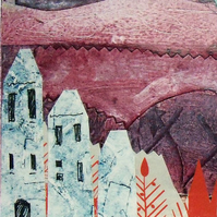Art Print of my Collagraph and Screen Printed Collage - Purple Landscape