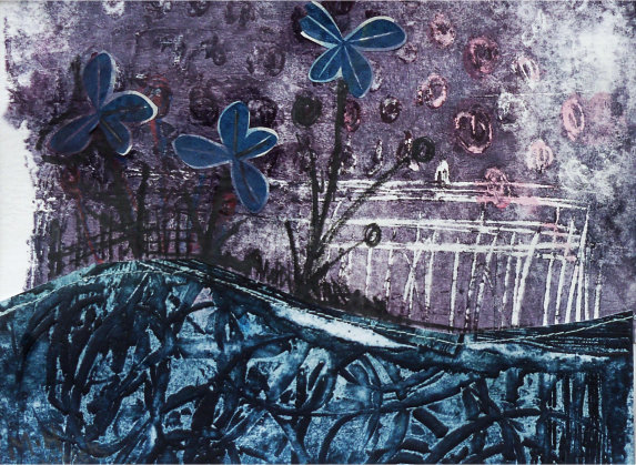 Violet - Collagraph and Collage