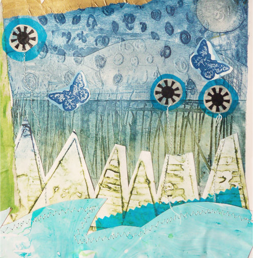 Art Print of my Original Collagraph and Screen Printed Collage  -  In The Meadow