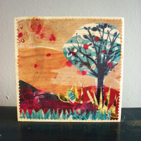 The Blue Tree - Wooden Block