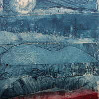 Original Collagraph  - Moon Sky