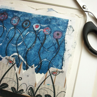 Original Collagraph and Screen Print Collage