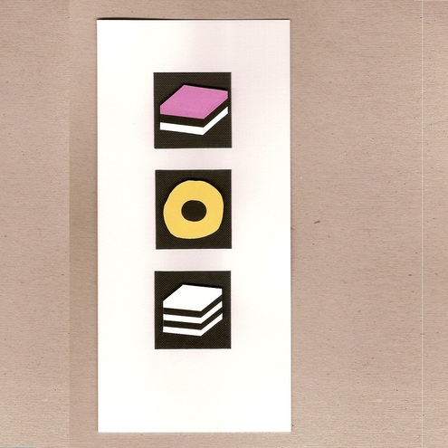 Sucre handmade card with liquorice allsorts
