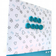 SALE New baby card - newry blue