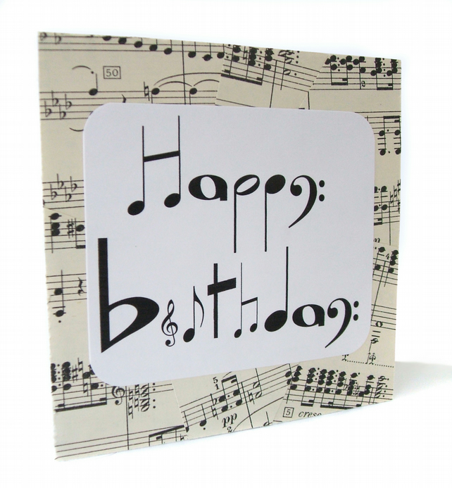SALE Musical Notes Birthday Card