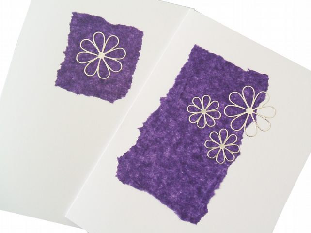 2 card pack handmade notecards with silver flowers - Asmara