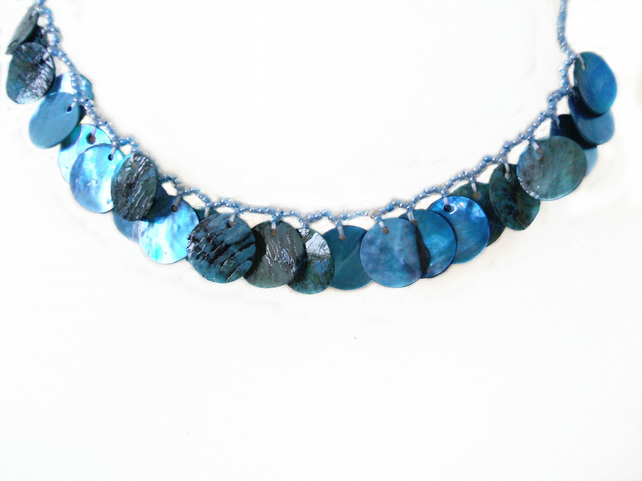 Huron blue beaded necklace with shell pendants