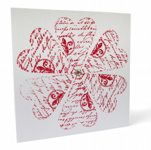 Script flower hearts card - Lanai