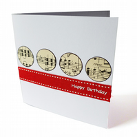 Handmade music notes birthday card - Cologne