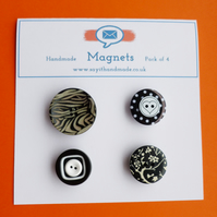 Fun button magnets monochrome patterns - Skiddaw