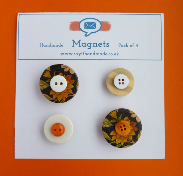 SALE Button magnets black, orange and cream - Skiddaw
