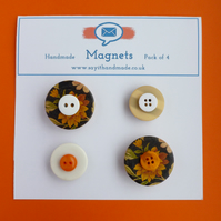 Button magnets black, orange and cream - Skiddaw