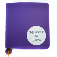 Personalised notebook jotter purple and cream - Walvis