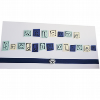 Personalised new baby card with name blue - Newcastle
