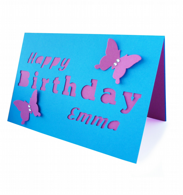 Personalised birthday card with butterflies - Saipan