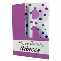 Children's alphabet birthday card with name and initial letter