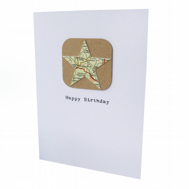 Upcycled map birthday card - Harbin