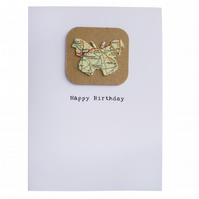 Upcycled map butterfly birthday card - Harbin