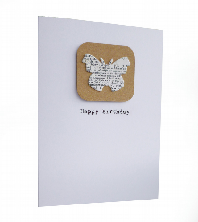Dictionary butterfly birthday card - Harbin