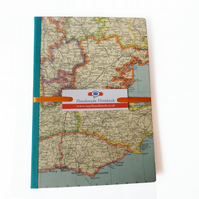 SALE Notebook with vintage map of South East England - Aegean
