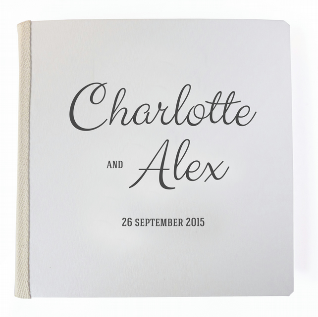 Hand bound wedding guest book personalised - Valletta