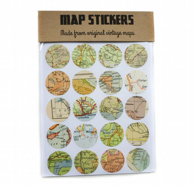 Map stickers envelope seals - Icaria