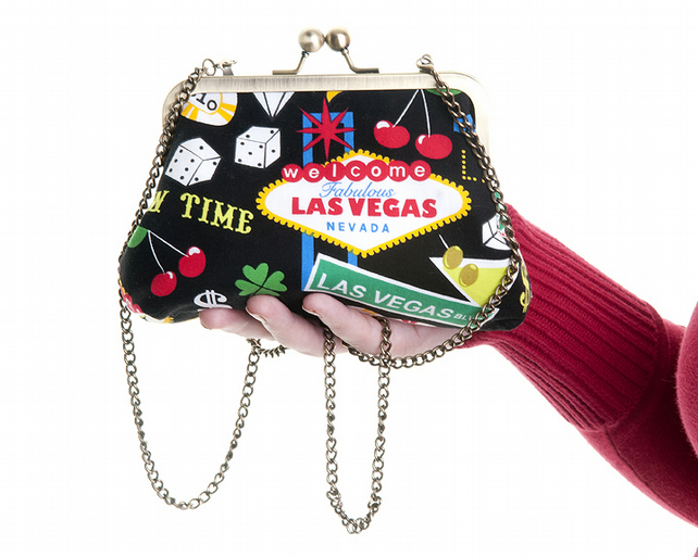 Viva Las Vegas Ladies Handbag and Clutch In One