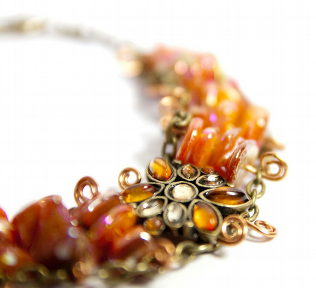 Orange Mother of Pearl Bracelet - Autumn Jewellery